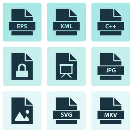 Document icons set with programming language, script, image and other svg   elements. Isolated vector illustration document icons.  イラスト・ベクター素材