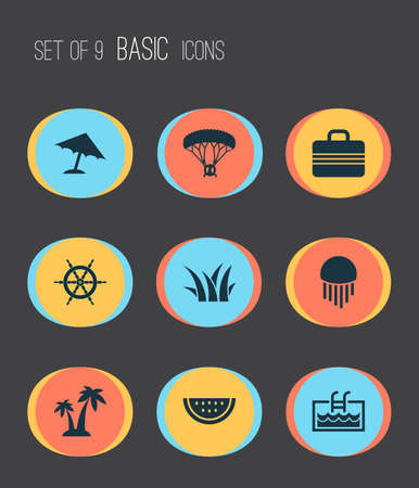Sun icons set with watermelon, grass, palms and other skydiving   elements. Isolated vector illustration sun icons. Illustration
