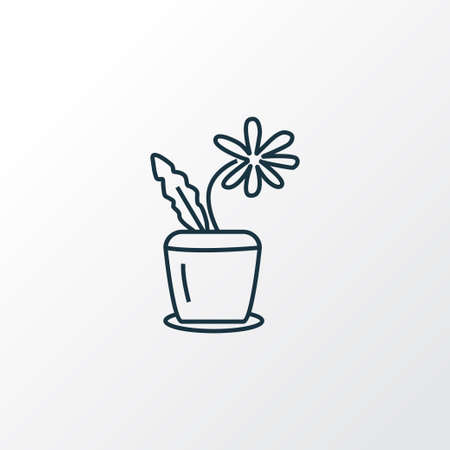 Flower pot icon line symbol. Premium quality isolated houseplant element in trendy style. Illustration