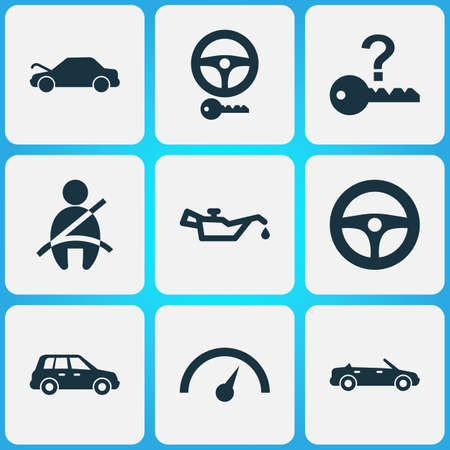 Car icons set with crossover, oil pressure low, cabriolet and other chronometer elements. Isolated vector illustration car icons.