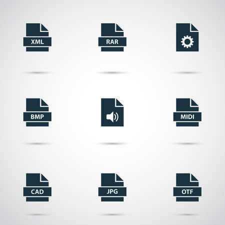 Document icons set with system, script, multimedia and other design