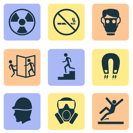 Sign icons set with toxic gas, beware of opening door, hat and other electromagnetic  elements. Isolated vector illustration sign icons.