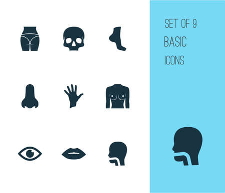 Physique icons set with oral cavity, butt, palm and other buttocks   elements. Isolated vector illustration physique icons.