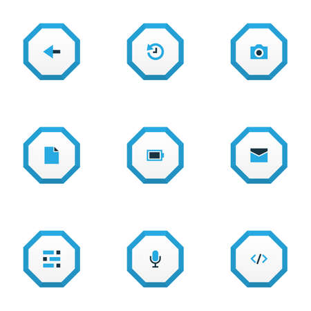 Interface icons colored set with dashboard, camera, file and other deadline