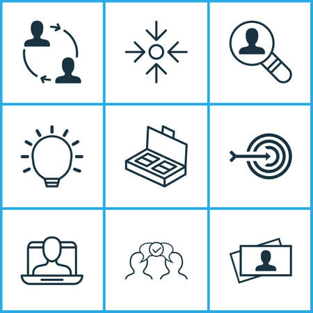 Business icons set with target, project target, partnership and other cooperation  elements. Isolated vector illustration business icons.