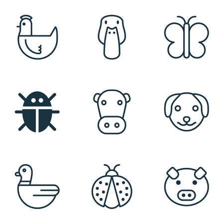 Animal icons set with cow, pig, duck and other hen  elements. Isolated  illustration animal icons.