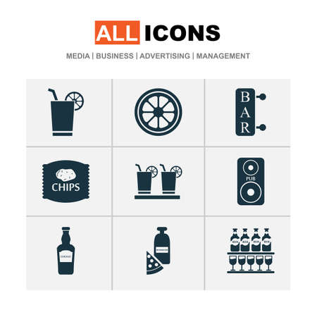 Beverages icons set with elite rum, chips, bar and other liquor