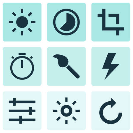 Image icons set with lightning, capture, refresh right and other paintbrush