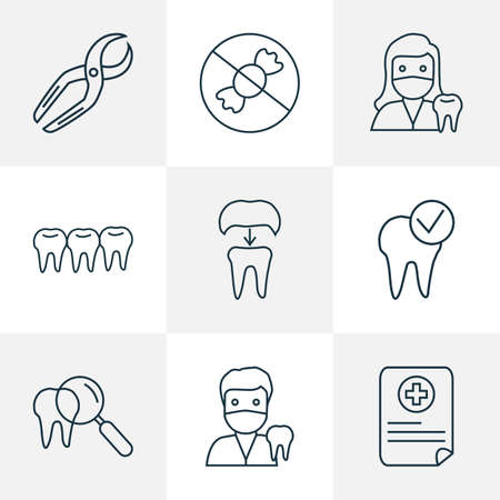 Tooth icons line style set with teeth, dental care, dentist woman and other alumina