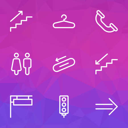 Direction icons line style set with hanger, steps down, sign and other wardrobe  elements. Isolated vector illustration direction icons. Illustration