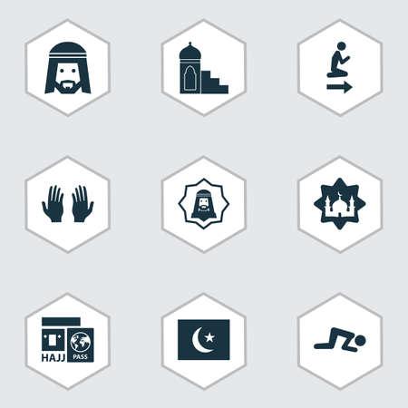 Icone di vacanza con namaz, hajj, musulmani e altri elementi di palma. Icone di vacanza illustrazione vettoriale isolato.