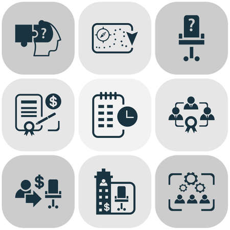 Business management icons set with effective teamwork, contract, problem solving and other partnership   elements. Isolated vector illustration business management icons. 일러스트