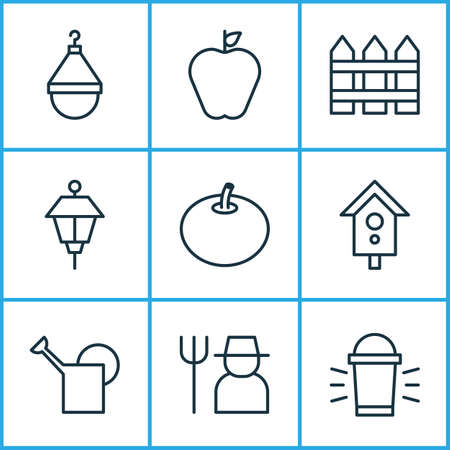 Garden icons set with farmer, scale, park lamp and other birdhouse elements. Isolated illustration garden icons.