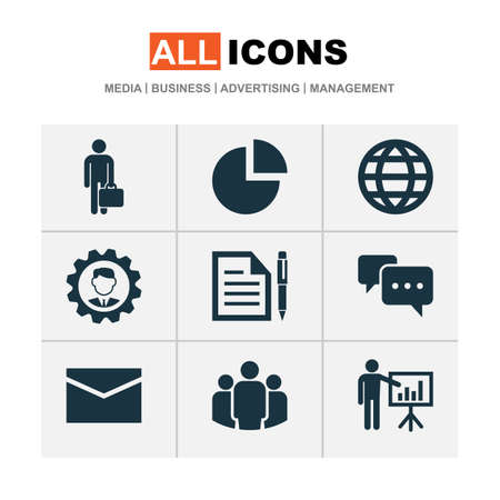 Trade icons set with circle graph, manager, business presentation and other earth  elements. Isolated  illustration trade icons.