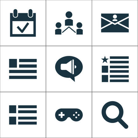 Internet icons set with promote, form, search and other contact