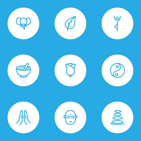 Meditation icons line style set with elephant, healthy food, hindu human and other bowl