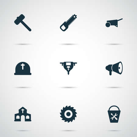 Industry icons set with cemetery, milling cutter, bucket tools and other boer elements. Isolated vector illustration industry icons.