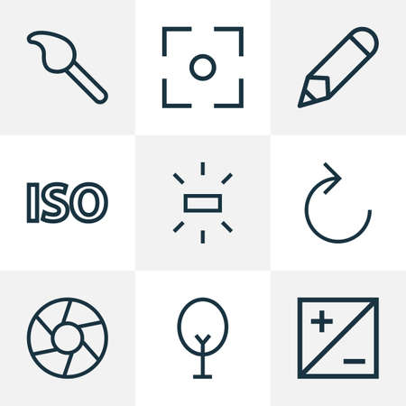 Picture icons line style set with reload, brightness, pen and other refresh right elements. Isolated vector illustration picture icons. Vektoros illusztráció