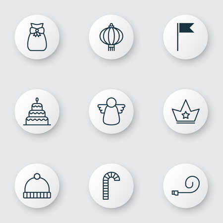Year icons set with winter hat, chinese lantern, gift sack and other knitted cap