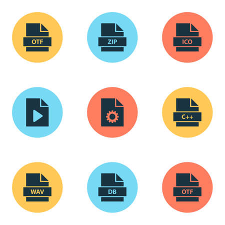 File icons set with database, doc, zip and other backup  elements. Isolated vector illustration file icons. Archivio Fotografico - 106754039