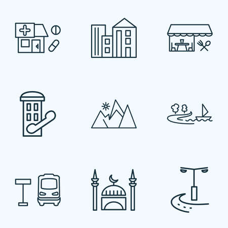 Urban icons line style set with restaurant, drug store, mountains and other pharmacy  elements. Isolated vector illustration urban icons.