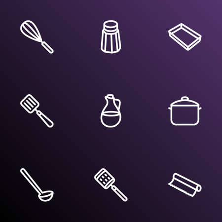 Dishware icons line style set with ladle, salt, spatula and other grater