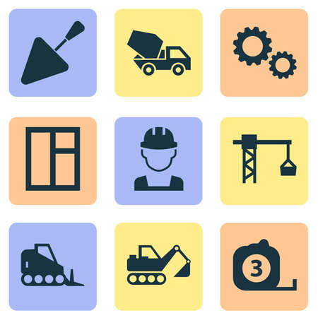Industry icons set with bulldozer, concrete mixer, tape ruler and other spatula