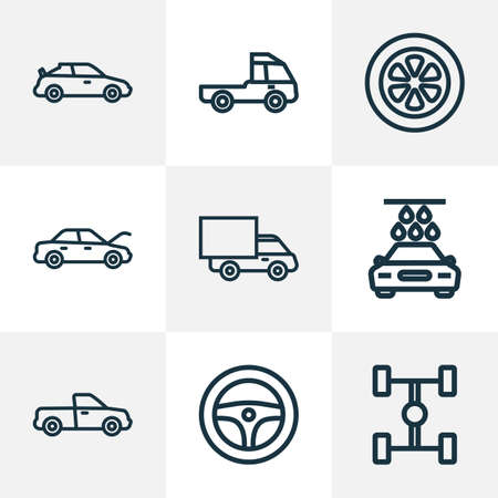 Auto icons line style set with tie, hood, wheelbase and other crossover