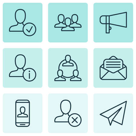Social icons set with staff, open envelope, megaphone and other bullhorn
