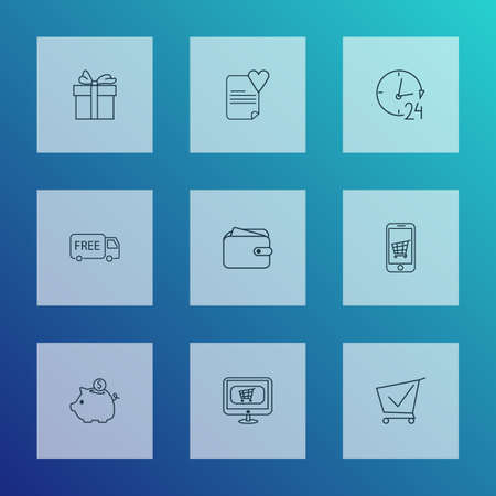 E-commerce icons line style set with buy online, mobile shop, savings and other smartphone