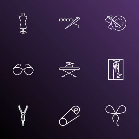 Style icons line style set with sunglasses, safety pin, zipper and other flatiron