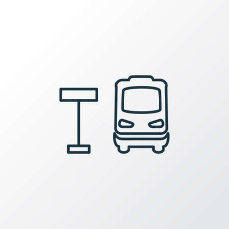 Bus stop icon line symbol. Premium quality isolated autobus station element in trendy style. Ilustração