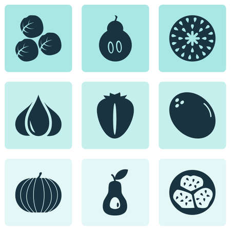 Fruit icons set with berry, kiwano, duchess and other pear  elements. Isolated vector illustration fruit icons.