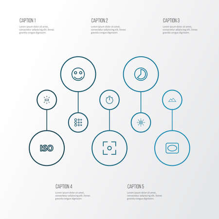 Image icons line style set with chronometer, filtration, light level and other iso