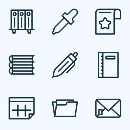 Stationery icons line style set with bookmark, folders on shelf, notebook and other letter   elements. Isolated  illustration stationery icons.