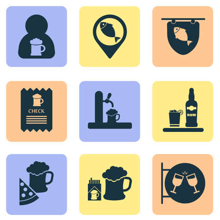 Drink icons set with tap, ice rum, geolocation and other alcoholic