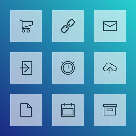 Style de ligne des icônes utilisateur avec base, shopping, lettre et autres éléments de lien. Icônes d'utilisateur d'illustration vectorielle isolée. Vecteurs