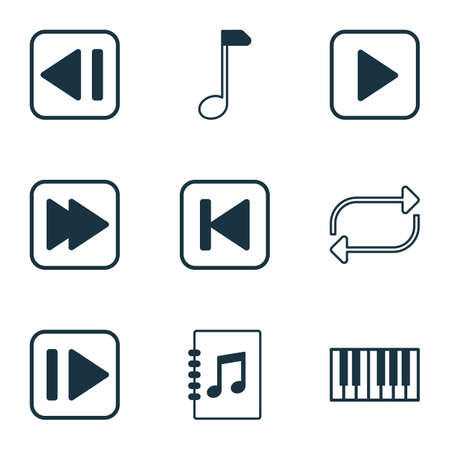 Audio icons set with forward music, next song, repeat and other tune list   elements. Isolated vector illustration audio icons.