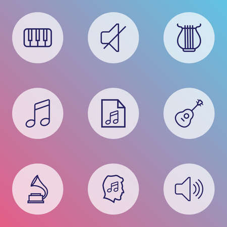 Multimedia icons line style set with play list, mute, volume and other strings   elements. Isolated vector illustration multimedia icons.  イラスト・ベクター素材
