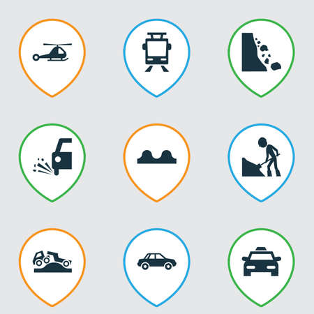 Transportation icons set with tram, beware, falling rock and other slippery  elements. Isolated  illustration transportation icons.