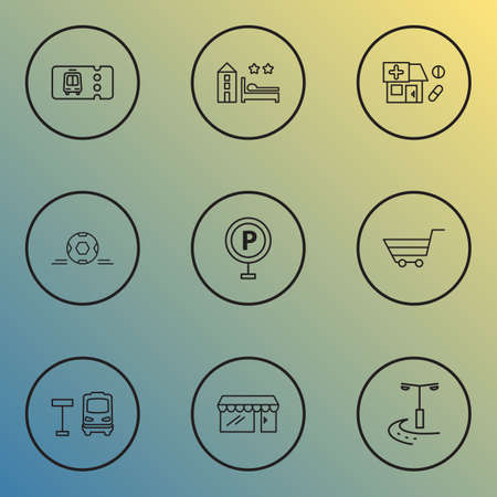City icons line style set with bus stop, football ball, drug store and other shop