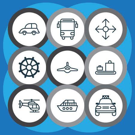Fahrzeugsymbole mit Gepäckförderer, Schulbus, Ruder und anderen ebenen Elementen. Isolierte Vektor-Illustration Fahrzeugsymbole. Vektorgrafik