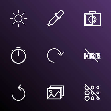 Image icons line style set with shine, hdr off, image and other circle  elements. Isolated vector illustration image icons.