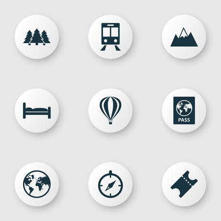 Journey icons set with forest, ticket, air balloon and other guide