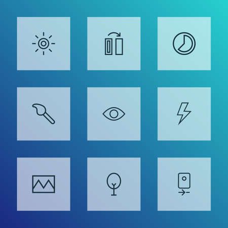 Image icons line style set with wb iridescent, photo, turn and other broken image   elements. Isolated vector illustration image icons. 일러스트