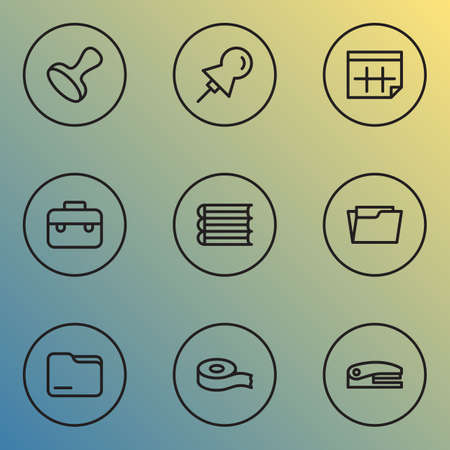 Stationery icons line style set with stapler, open folder, books and other thumbtack  elements. Isolated vector illustration stationery icons.  イラスト・ベクター素材