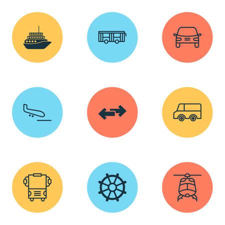 Icônes de livraison avec gouvernail, hélicoptère, camion et autres éléments de barre de bateau. Icônes de livraison d'illustration vectorielle isolé.