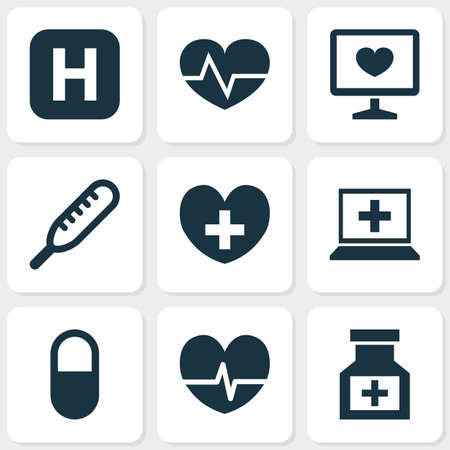 Drug icons set with heart, computer, medicine and other drug elements. Isolated vector illustration drug icons.