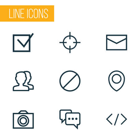 User icons line style set with forbidden, note, tag and other code elements. Isolated vector illustration user icons. 向量圖像