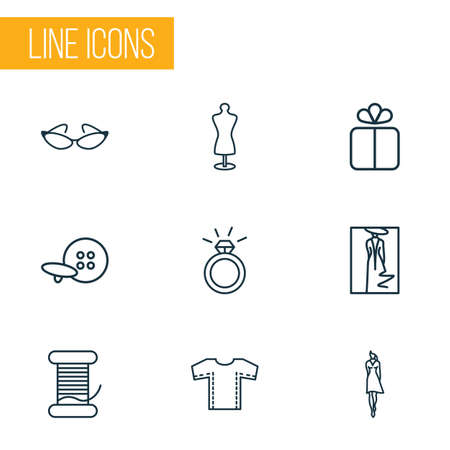 Fashionable icons line style set with ring, fashion sketch, bobbin and other lady   elements. Isolated vector illustration fashionable icons.